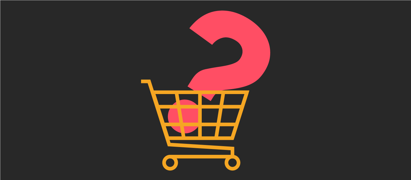 a question mark in a shopping trolley showing online sales