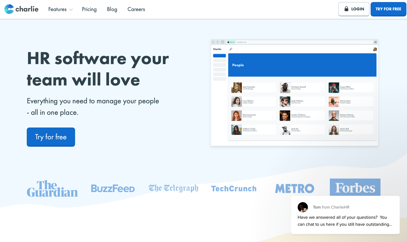 charlieHR landing page example