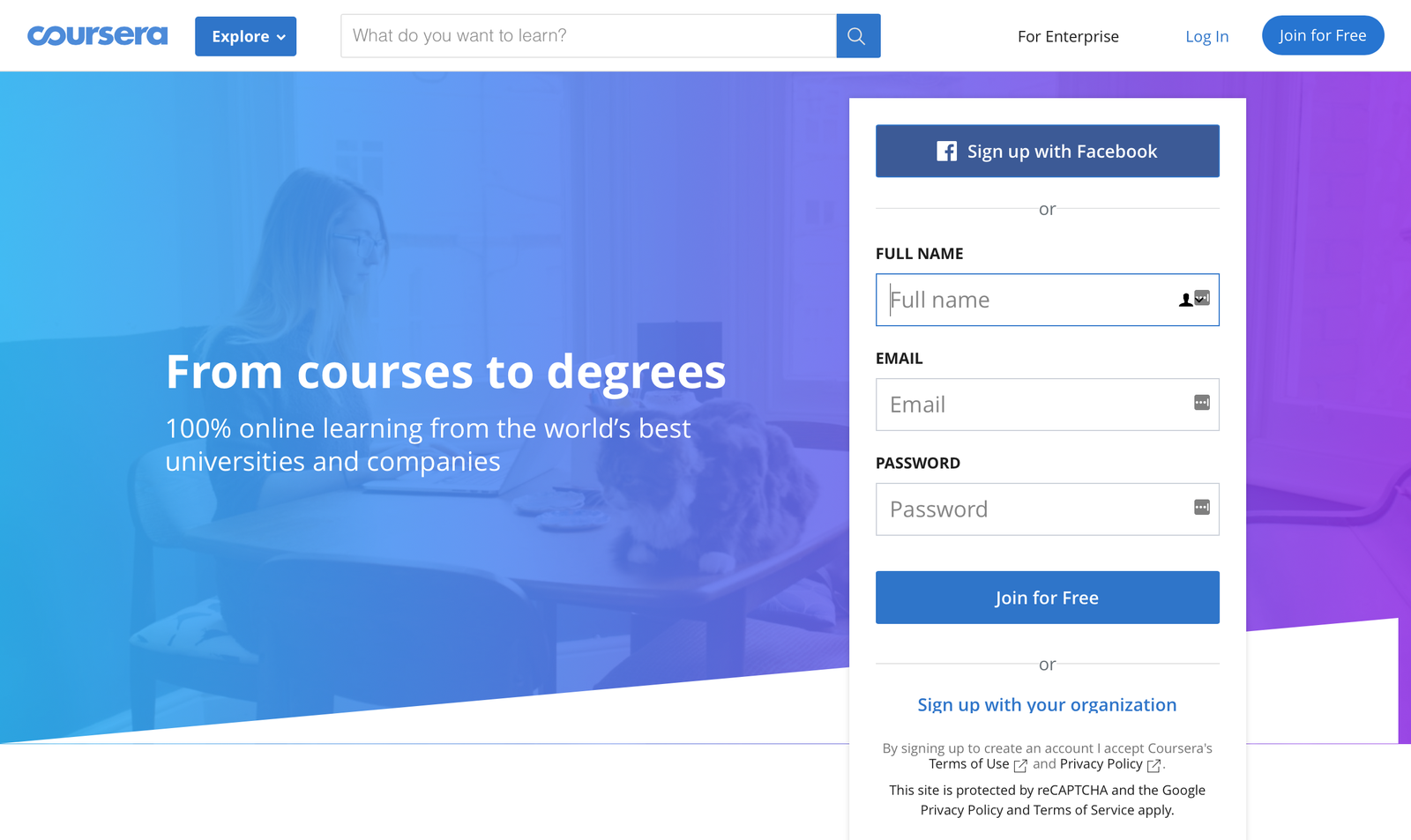 coursera landing page example