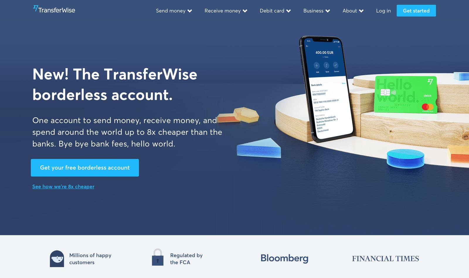 transferwise landing page design