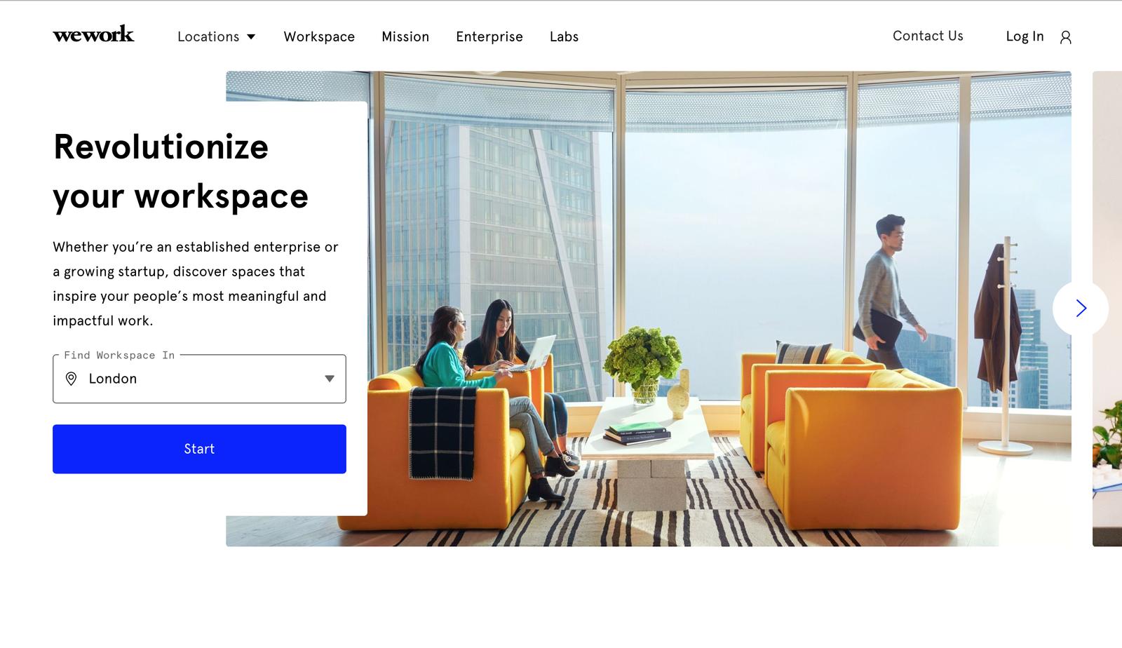 WeWork landing page design