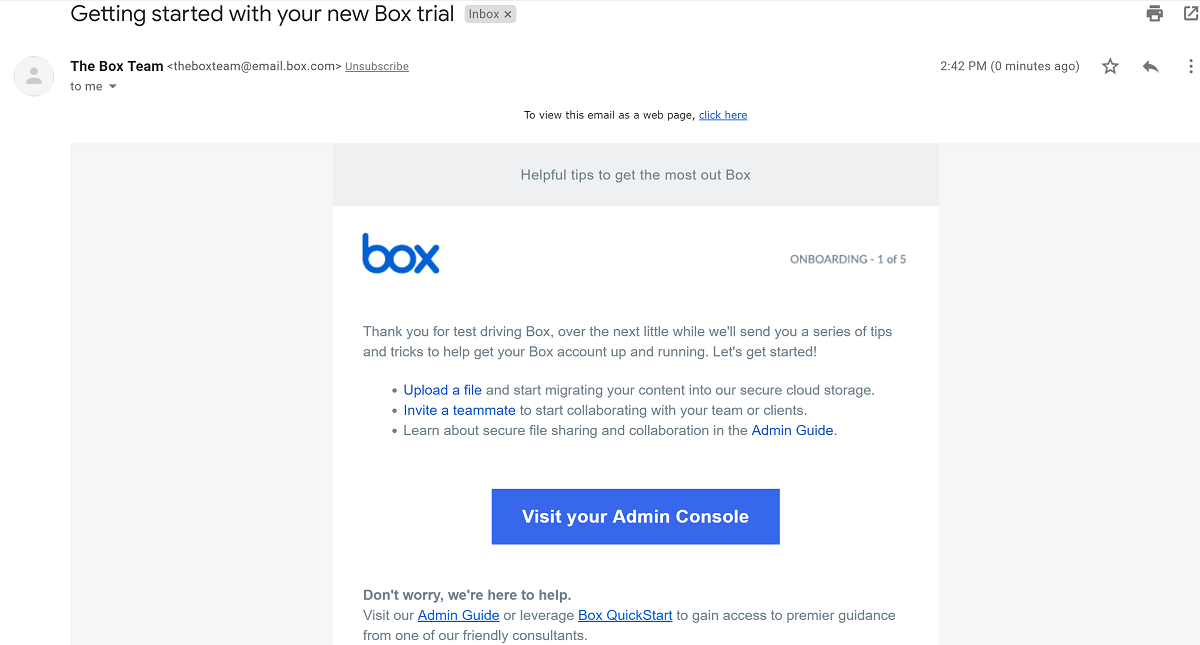 Box welcome email