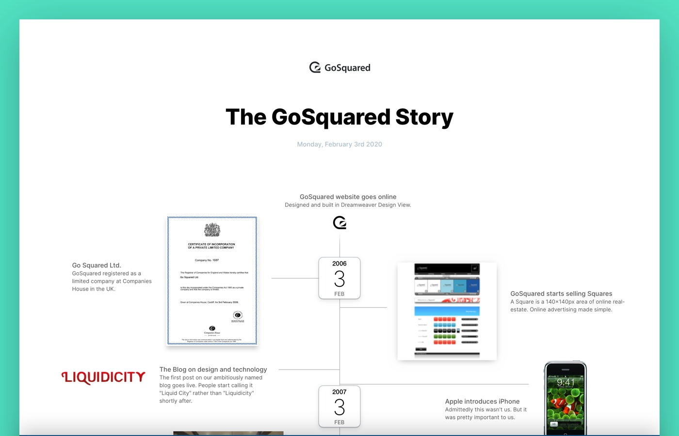 Preview of the GoSquared company timeline
