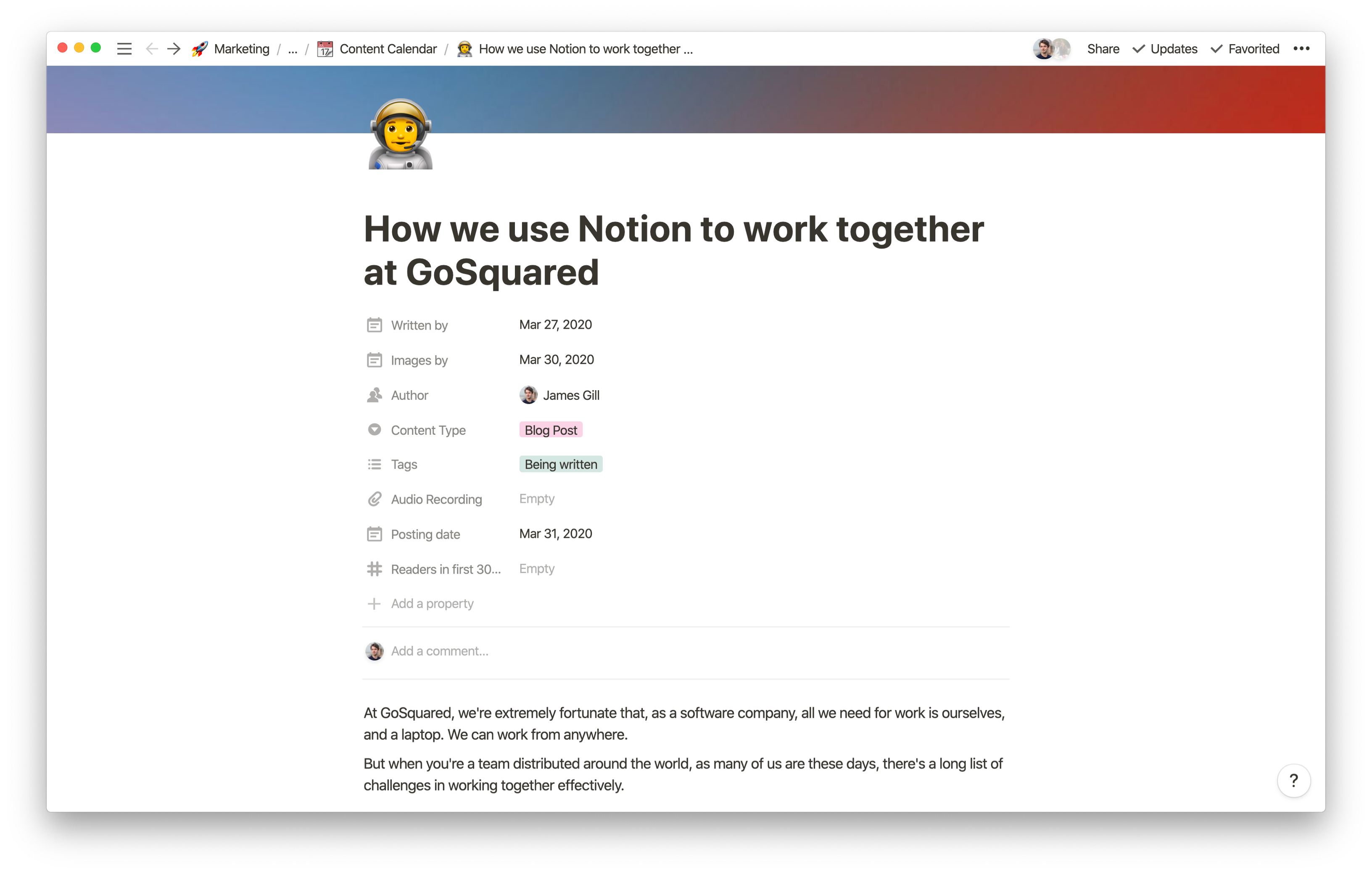 Writing a post for the GoSquared Blog in Notion