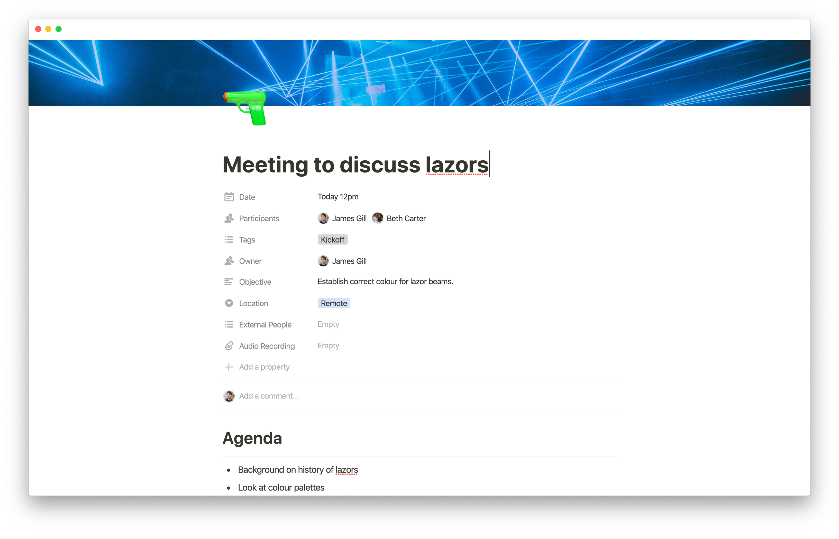 Meeting doc in Notion for GoSquared