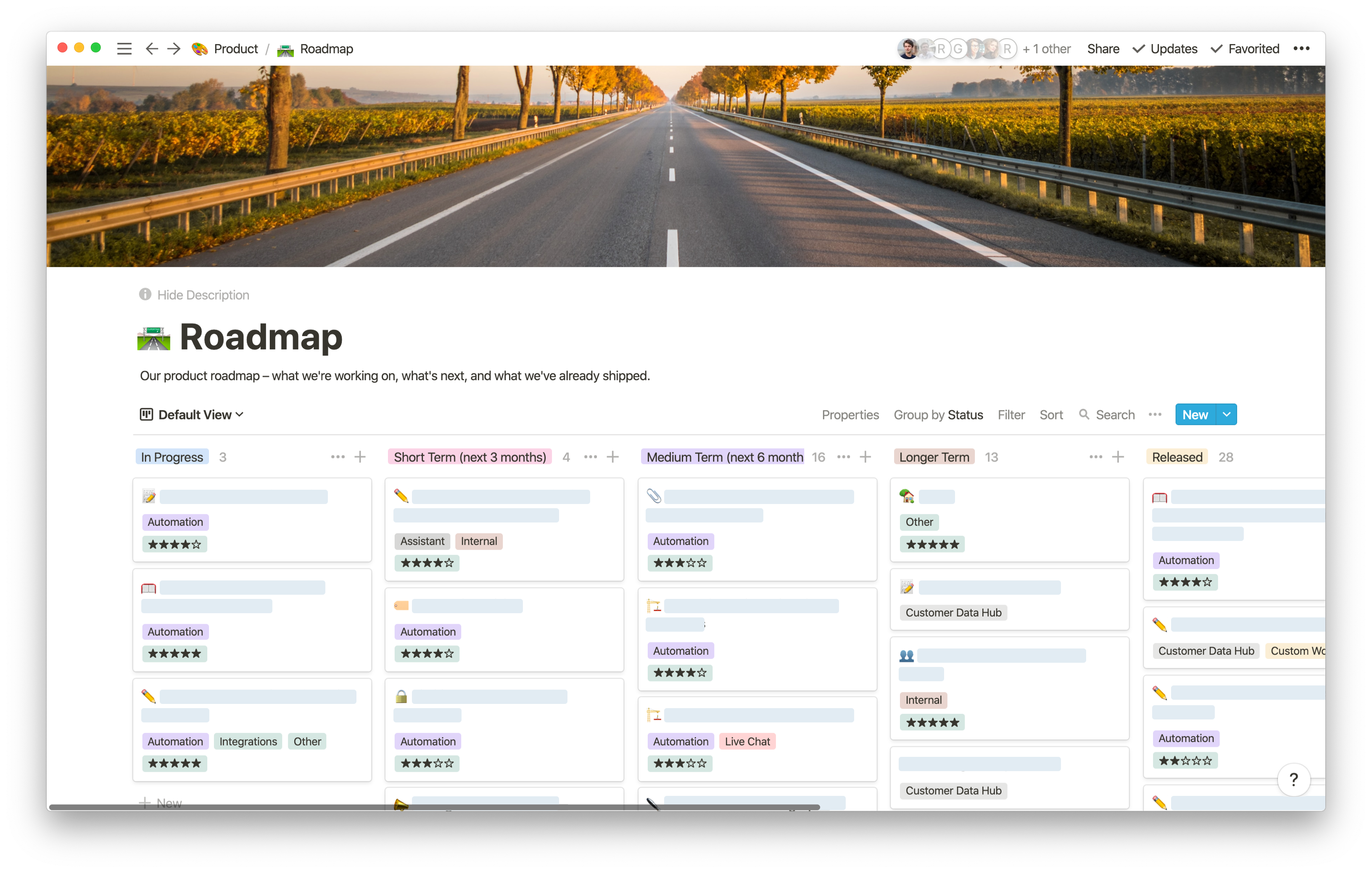 GoSquared product roadmap in Notion