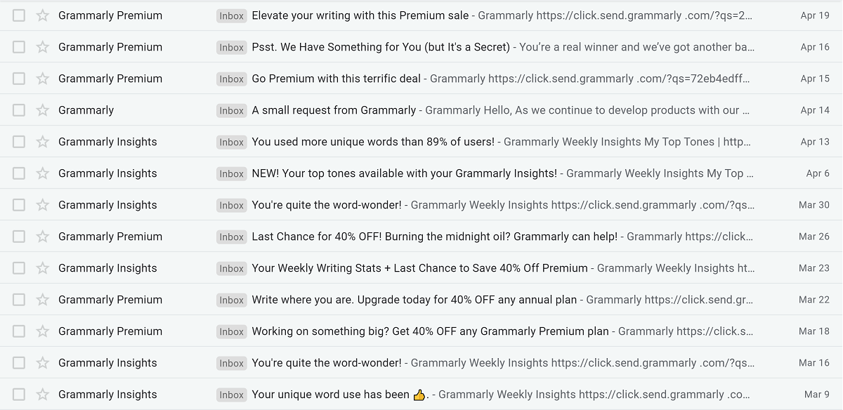 Timing of Grammarly emails