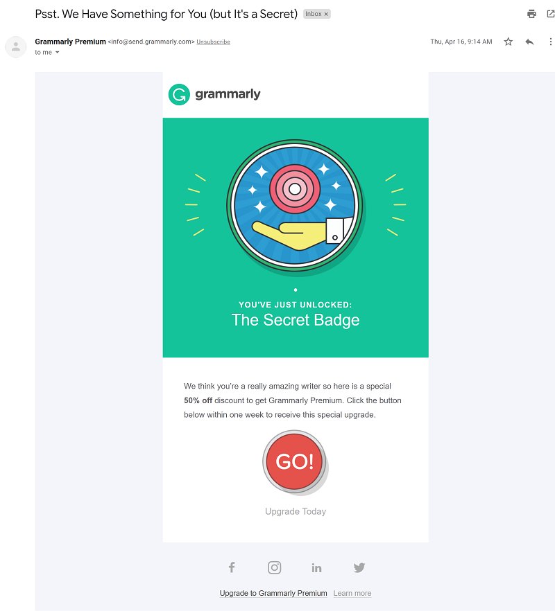 Grammarly upgrade offers