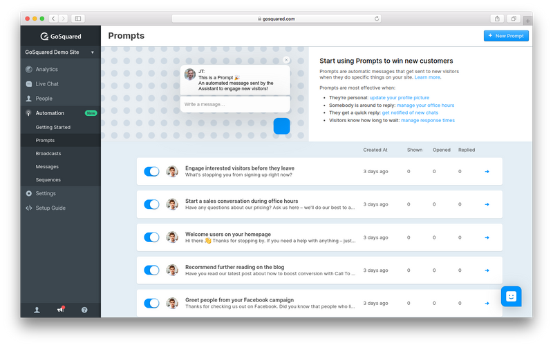 Screenshot of Prompts in GoSquared Automation