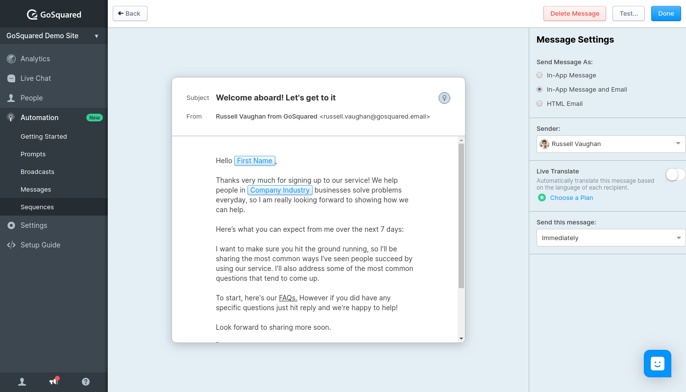 Screenshot of creating a new message in GoSquared Automation