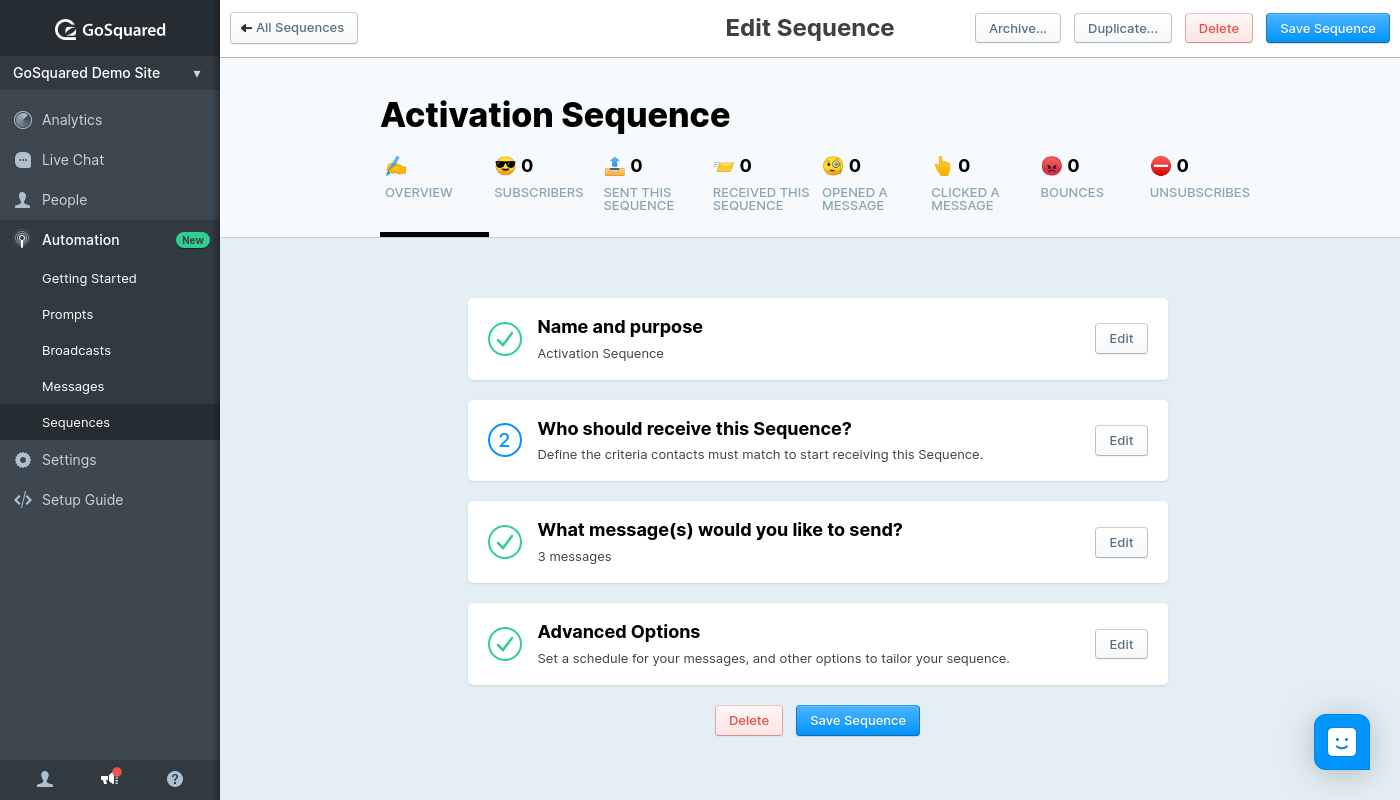 Screenshot of Sequences in GoSquared Automation