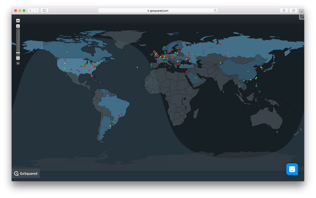 GoSquared Map View for real-time web analytics