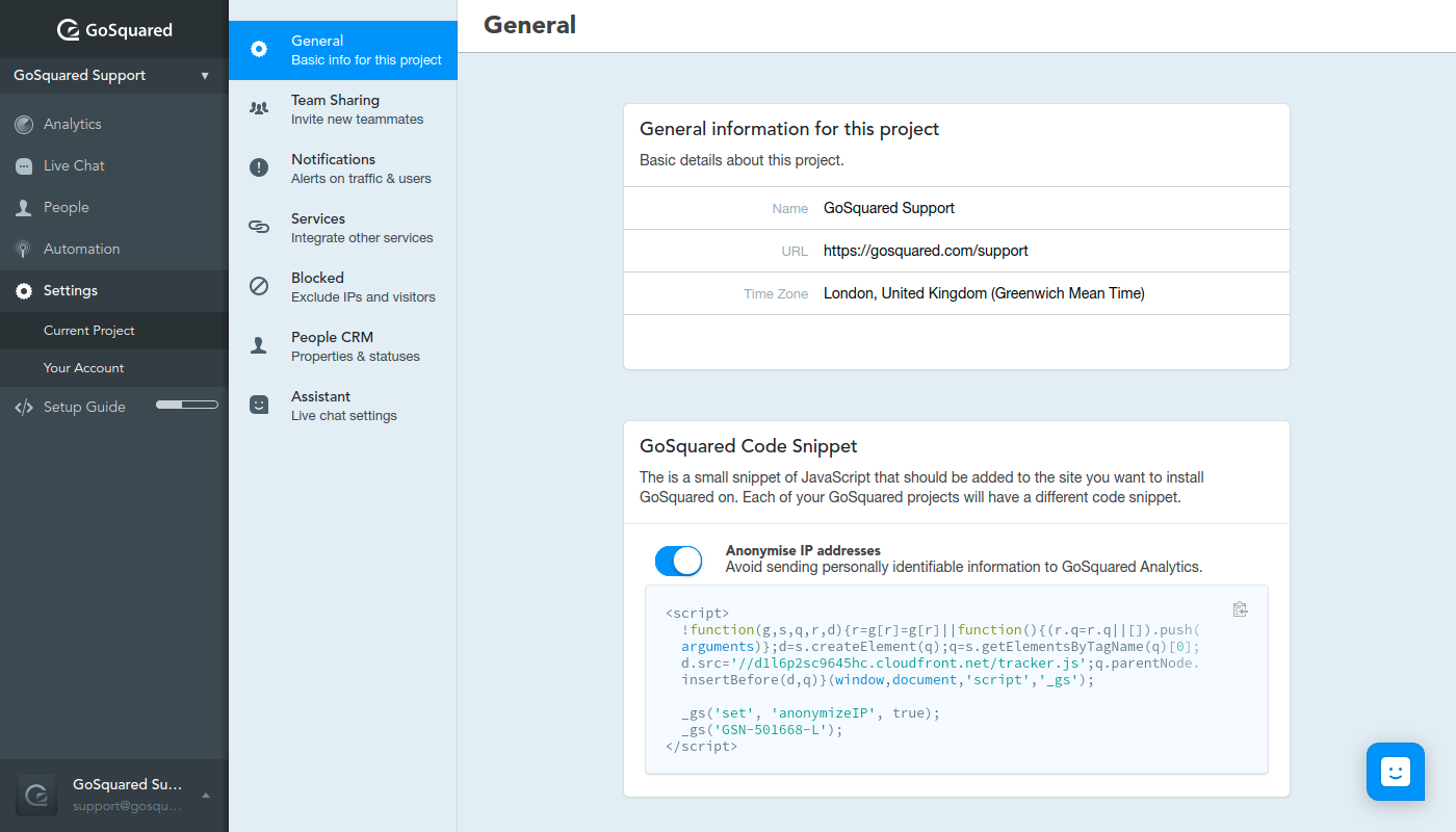 Screenshot of Project Settings in GoSquared