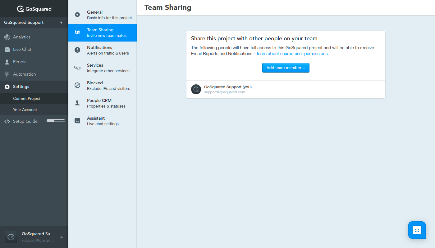 Screenshot of Team Sharing settings in GoSquared
