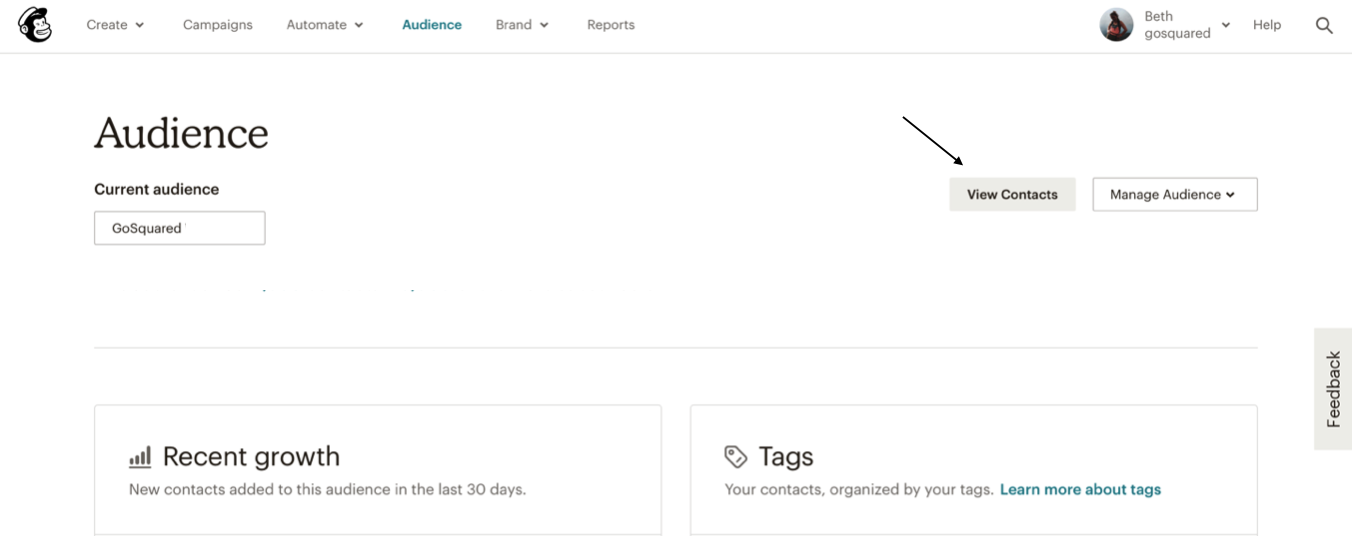 Mailchimp export contacts view
