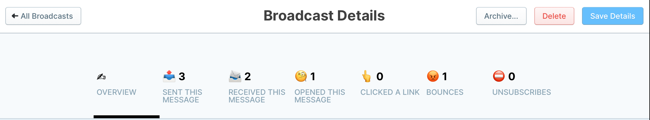 Screenshot of Broadcasts in GoSquared Automation