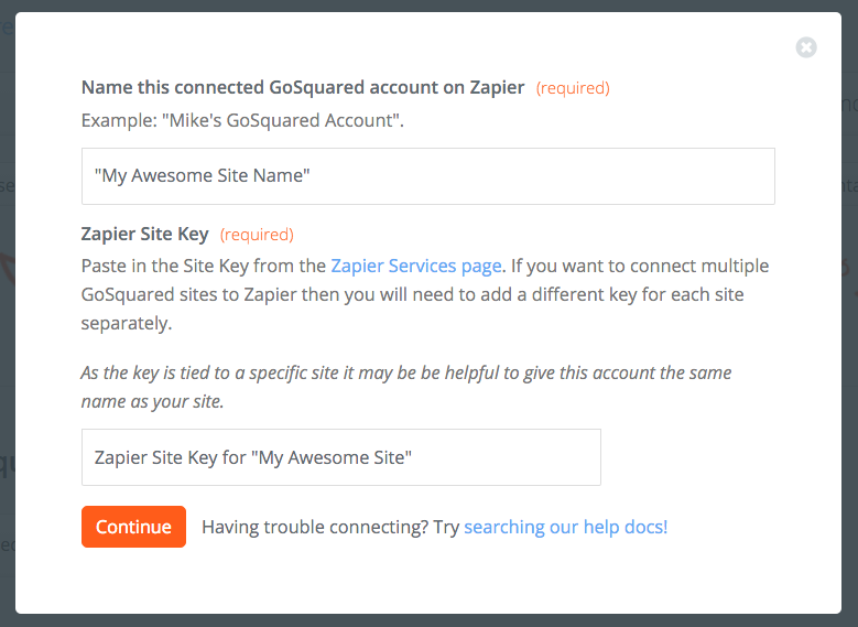 Paste Zapier Site Key