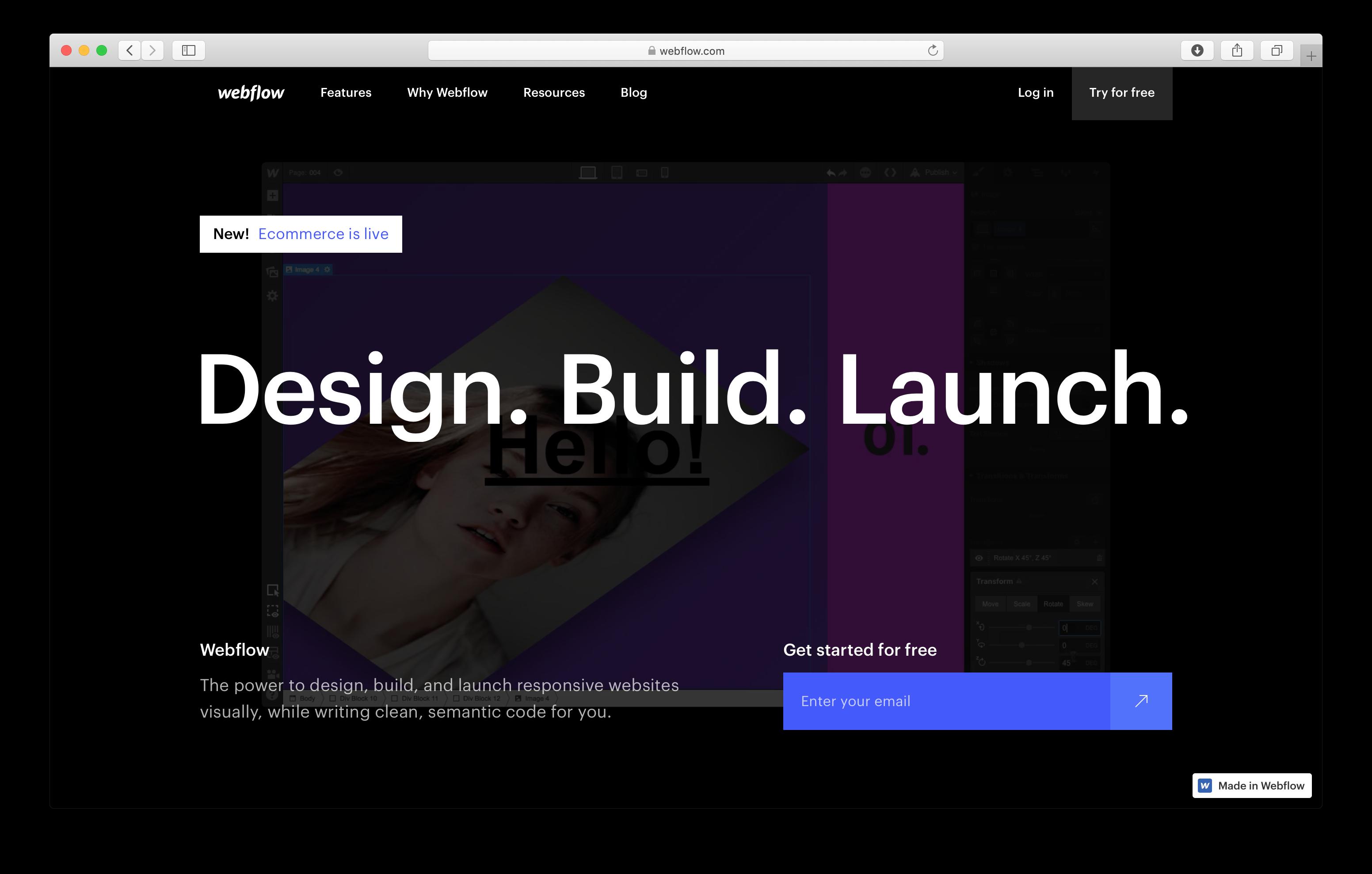 Screenshot of the Webflow website